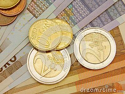 欧洲硬币和钞票