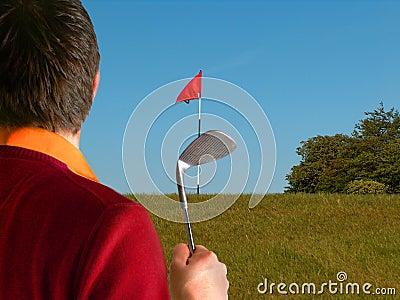 比赛高尔夫球运动员短小