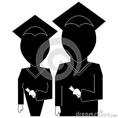 毕业在剪影黑色的教育象在白色backgrou