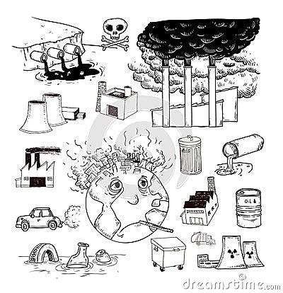 污染象乱画集合,手拉的例证