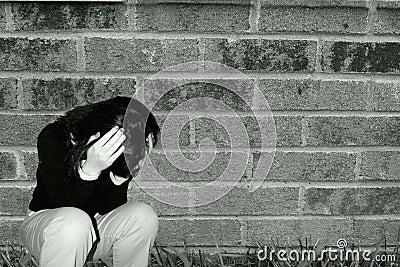 沮丧的女孩哀伤青少年