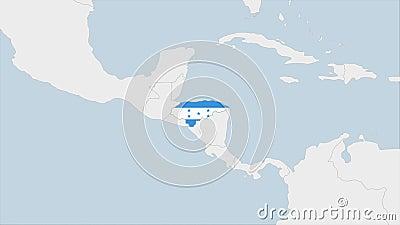 洪都拉斯地图突出显示国家首都特古西加尔巴的旗帜和徽章 库存例证