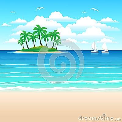 画报海岸,与吊棕榈树的社区.海,海岛海滩和天空的绿色与大云彩.热带未成年人绘制看法图片