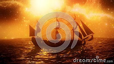 海洋VJ环背景中孤独的海盗 股票视频