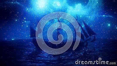 海洋VJ环背景中孤独的海盗 影视素材