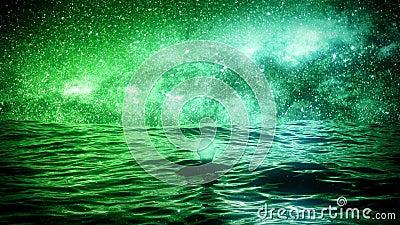海洋VJ环背景中的星夜 影视素材