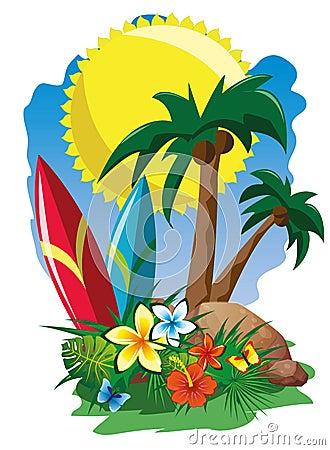 海浪棕榈树和花.