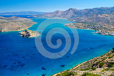 海湾克利特海岛mirabello spinalonga视图