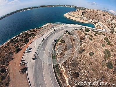 海滨无人机转弯的公路 影视素材