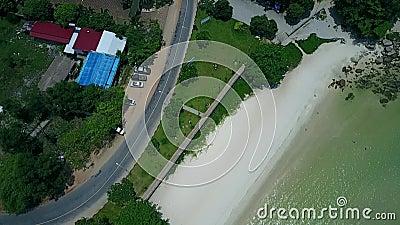 海滩和路柬埔寨亚洲天线 影视素材