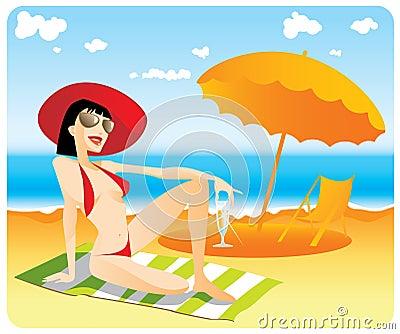 海滩女孩图片
