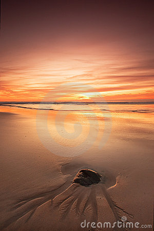 海滩岩石日落
