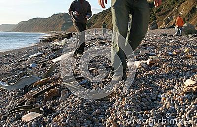 海滩海难 图库摄影片
