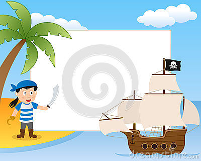 海盗和船照片框架