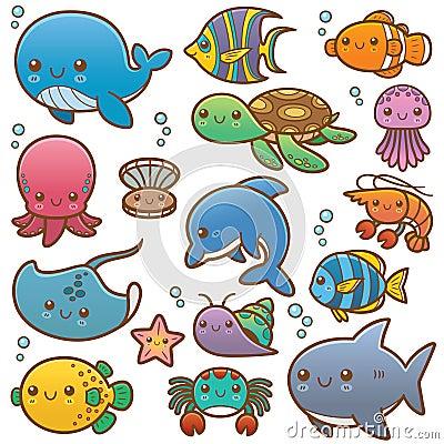 海洋动物动画片的传染媒介例证.图片