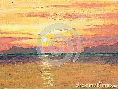 画布海洋石油原始绘画日落.图片