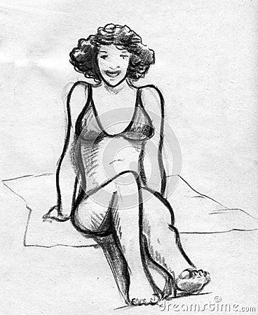 一个微笑的女孩的手拉的铅笔剪影有卷发的 她报的佩带的bikkini和图片
