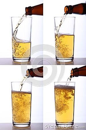 涌入玻璃的啤酒