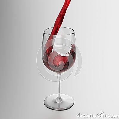 涌入玻璃的红葡萄酒