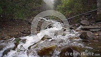 渗透清澈山河瀑布流动慢动 股票录像