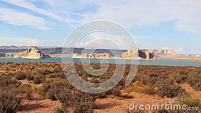 湖在犹他和亚利桑那之间的鲍威尔水库 股票视频