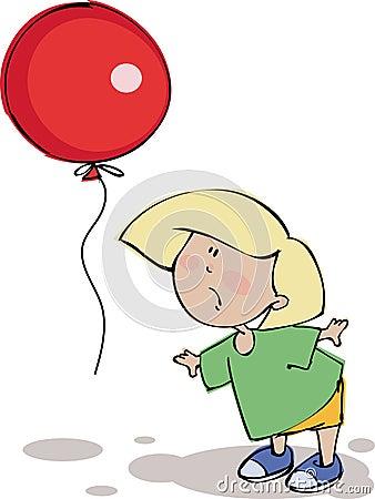 滑稽气球的男孩