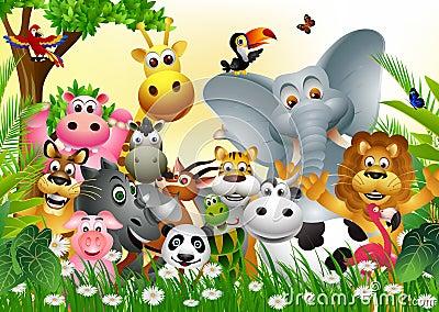 滑稽的动物野生生物动画片收藏