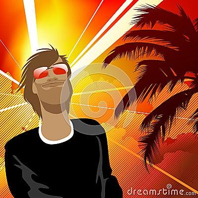 背景漫画人物滑稽的热带向量.图片