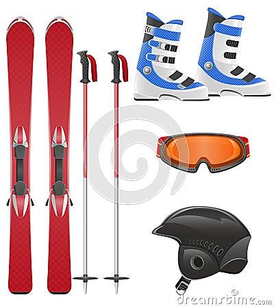 滑雪设备图标集合向量例证