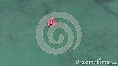 漂在粉红烈鸟气垫上的女孩的无人机射击 股票视频