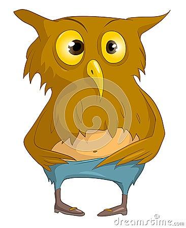 图库摄影: 漫画人物滑稽的猫头鹰图片