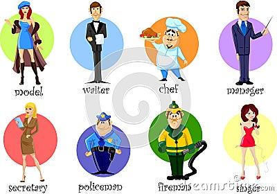 漫画人物-厨师,警察,消防员,侍者图片