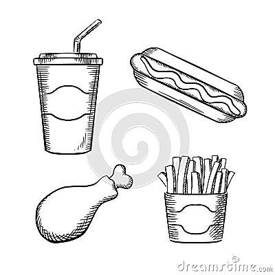 在纸箱,热狗用番茄酱,炸鸡腿和甜苏打的快餐炸薯条在有吸管的外带的图片