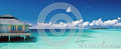 热带海滩的全景