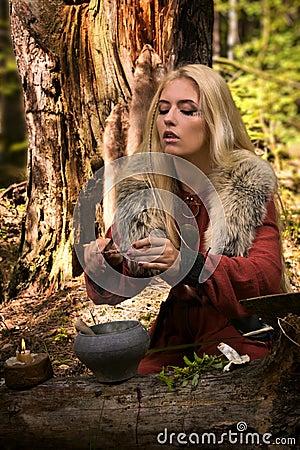 烹调魔药的斯堪的纳维亚巫婆女巫