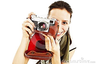 背景照相机老拍照白人妇女年轻人.