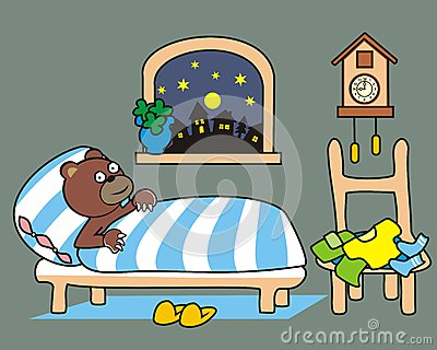 熊在床上 苗圃 可笑的例证.图片