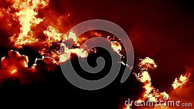 燃烧的吹的地狱射击云彩时间间隔史诗电影 影视素材