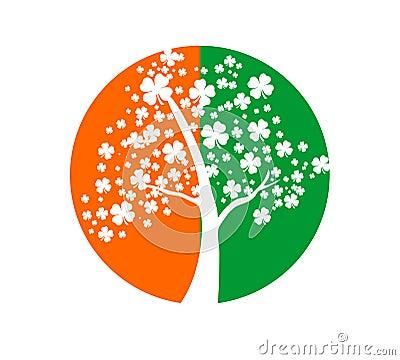圣帕特里克的天标志三叶草或抽象爱尔兰旗子颜色.图片