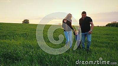 父母一对愉快的夫妇有一个小儿子的横跨往日落的领域走 愉快儿童的系列 股票录像