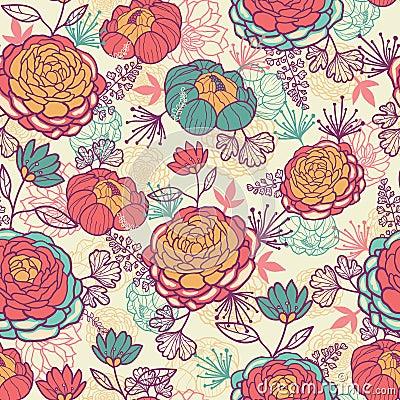 牡丹花和叶子无缝的样式