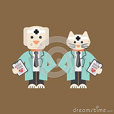 狗和猫在uniform vector illustration医生 10 eps.