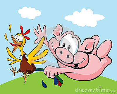猪抓住母鸡