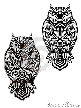 猫头鹰鸟纹身花刺