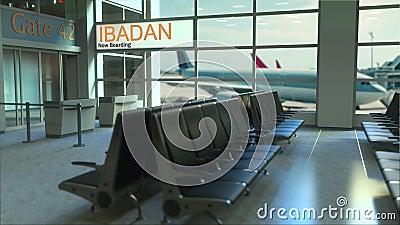 现在上在机场终端的伊巴丹飞行 旅行到尼日利亚概念性介绍动画, 3D翻译 影视素材
