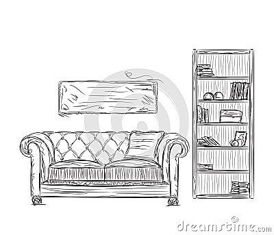 现代内部室剪影 手拉的书架和沙发.图片