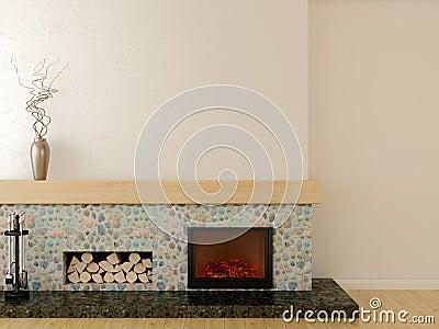 在现代样式的壁炉,位于一个大理石垫座,标示用石和木壁炉台.图片