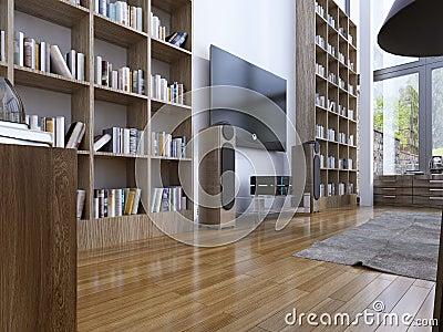 现代样式的家庭书库 3d回报.