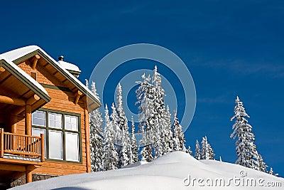 瑞士山中的牧人小屋冬天