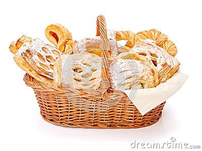 甜点在篮子结块